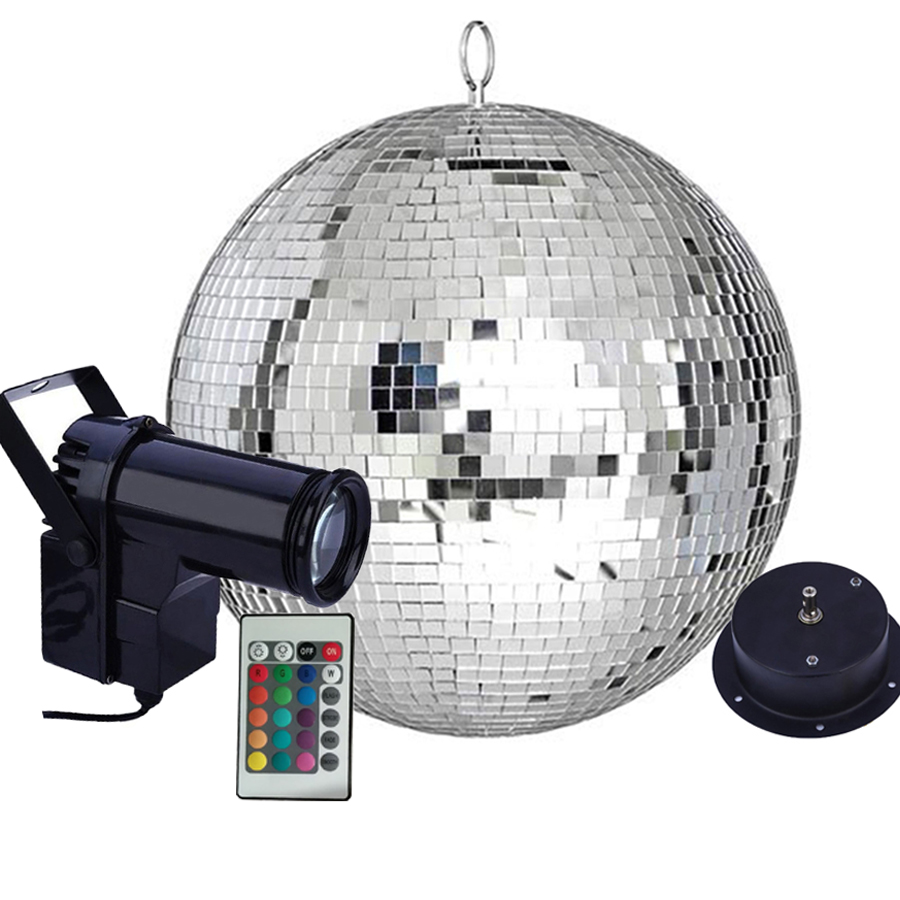 Thrisdar Remote Control LED RGB Beam Pinspot Light With Reflective Mirror Ball Light With Motor Party Wedding Disco Ball Light
