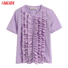 Tangada women vintage purple cotton T shirt for summer short sleeve O neck tees