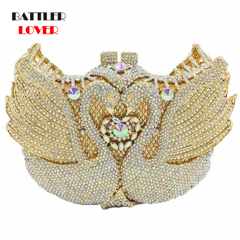 Bags for Women 2020 Luxury Pink Crystal Swan Minaudiere Clutch Women Evening Bags Ladies Wedding Purses Party Cocktail Handbags