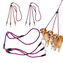 Dog Leash 3 Way No-Tangle Nylon Pet Leash Lead Double For Walking 3 Small Medium Dogs practical convenient pet leash pink page 3