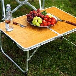 Mesa dobrável de acampamento ao ar livre mesa de placa de bambu portátil piquenique churrasco pequena mesa do computador cama com saco sofá portátil