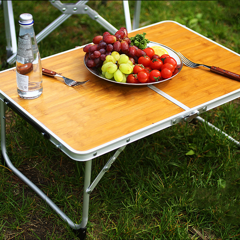 Folding Table Outdoor Camping Bamboo Board Table Portable Picnic Barbecue Small Table Bed Computer Table With Bag Laptop Sofa