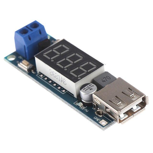 1PC DC-DC 6-40V to 5V 2A Step-down LED Voltmeter USB Voltage Converter 5.7*2*1cm