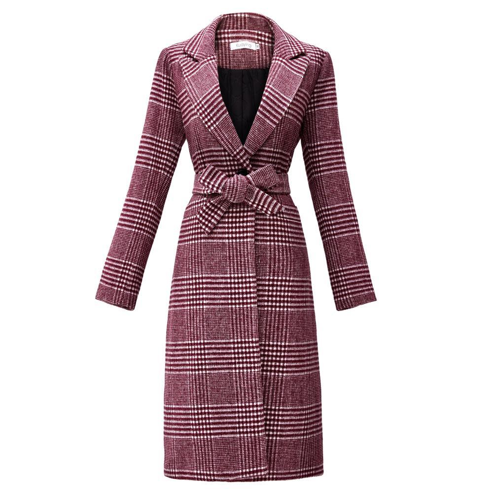 Winter Long Wool Plaid Women's Coat Thicken Belted 2019 elegant Female Outerwear