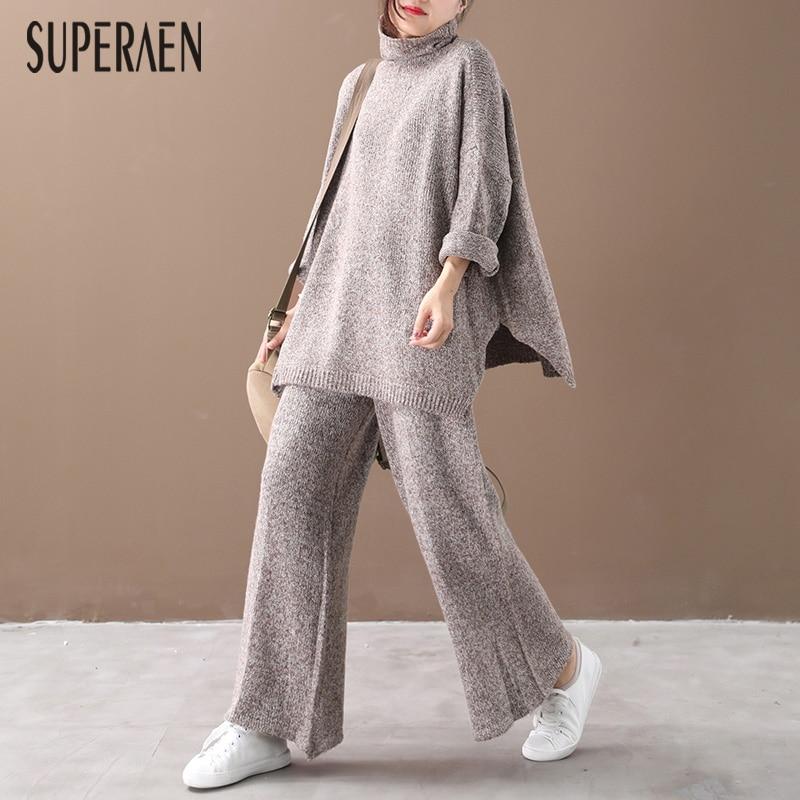 SuperAen New Autumn 2019 New Knit Women's Sets Korean Style Pluz Size Turtleneck Pullovers Sweaters Women Casual Long Pants