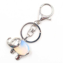 FYJS Unique Silver Plated Circle Lobster Clasp Elephant Shape Opalite Opal Key Chain Animal Jewelry