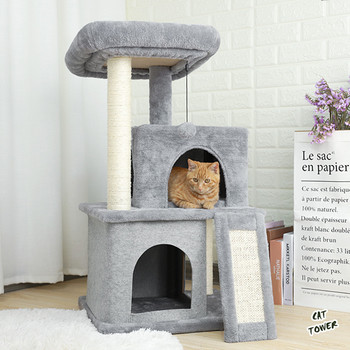Cat Tree Luxury Cat Tower with Double Condos Spacious Perch Fully Wrapped Scratching Sisal Post and Replaceable Dangling