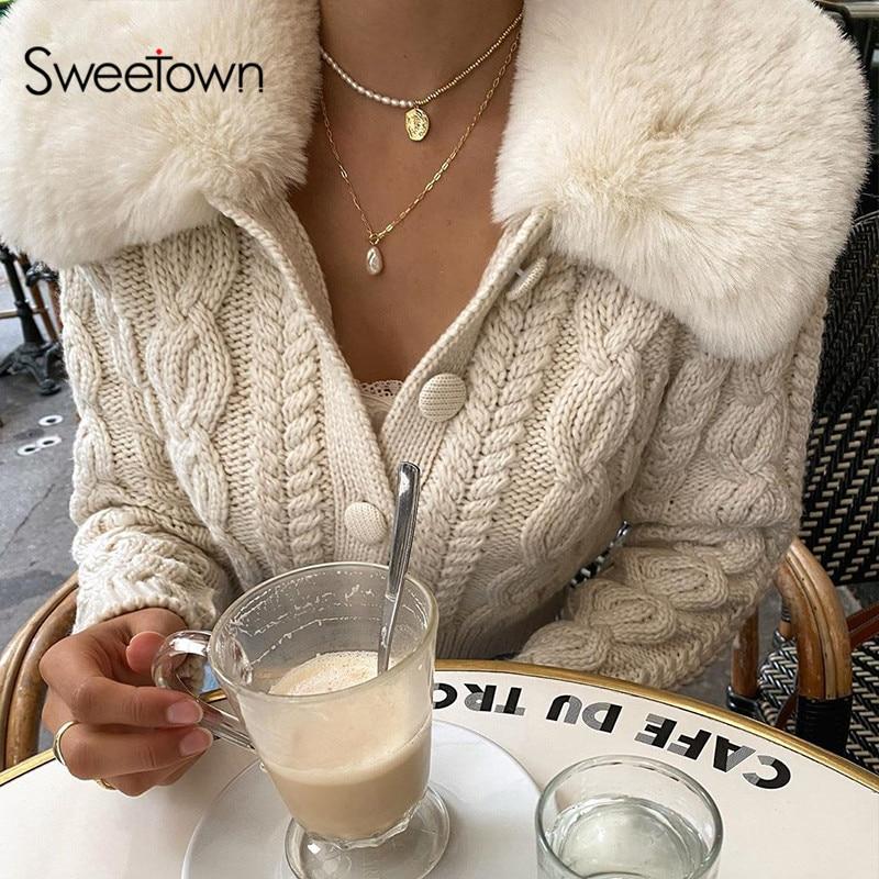 Sweetown幾何学模様のニット女性カーディガン毛皮トリム襟長袖秋冬セーター女性90sニットe少女
