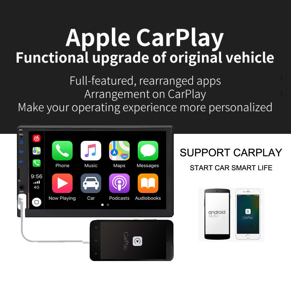 2020 Nieuwe Ui 2din Autoradio Autoradio Carplay Capactive Screen Full Touch Screen Multimedia Speler Achteruitrijcamera Bluetooth Fm