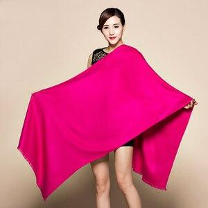 Image 3 - 300 グラム秋冬固体新しい起毛ロングスカーフ女性ラクダ冬男性スカーフ女性女性パシュミナ女性のスカーフストールショール