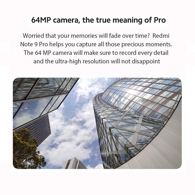 In Stock Global Version Xiaomi Redmi Note 9 Pro 6GB 64GB Snapdragon 720G 64MP Quad Camera Smartphone Note 9 Pro 5020mAh 30W QC