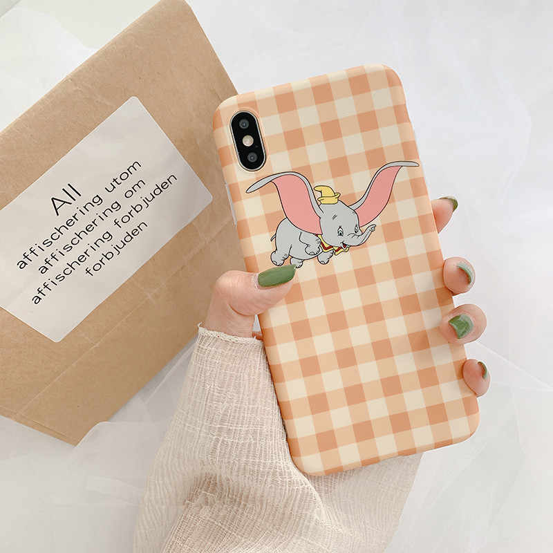 Luxus Grid Cartoon Animation Dumbo Telefon Fall Für iPhone X Xs XR Xsmax 7 7 Puls 6 6S 7 8 Puls Fällen Nette Weiche Silikon Abdeckung