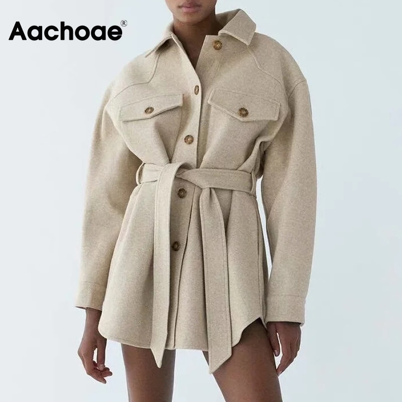 Aachoae Autumn Winter Women Chic Wool Coats With Belt 2021 Solid Long Sleeve Pockets Outerwear Turn Down Collar Elegant Coat