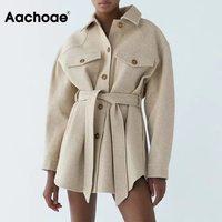 Aachoae Herbst Winter Frauen Chic Wolle Mäntel Mit Gürtel 2021 Solide Langarm Taschen Oberbekleidung Drehen Unten Kragen Elegante Mantel