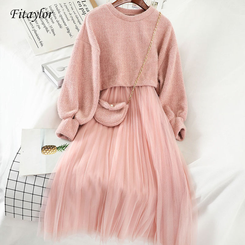 Fitaylor Sweet Two Pieces Suit Women Knitted Sweater Spring Winter O Neck Sweaters And Spaghetti Strap Dress Set Female Dress