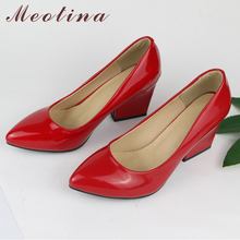 Meotina Women High Heels Shoes Pointed Toe Chunky Heels Pumps Slip On Fashion Shoes Ladies Footwear Red Apricot Yellow 41 42 43