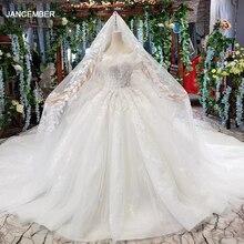 HTL496 dubai princess wedding dresses with ruffle long train special strapless bridal gowns with wedding veil sukienka biala