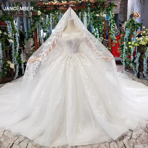 Image 1 - HTL496ドバイ王女のウェディングドレスフリルロングトレイン特別なストラップレスブライダルドレス結婚式ベールsukienka biala