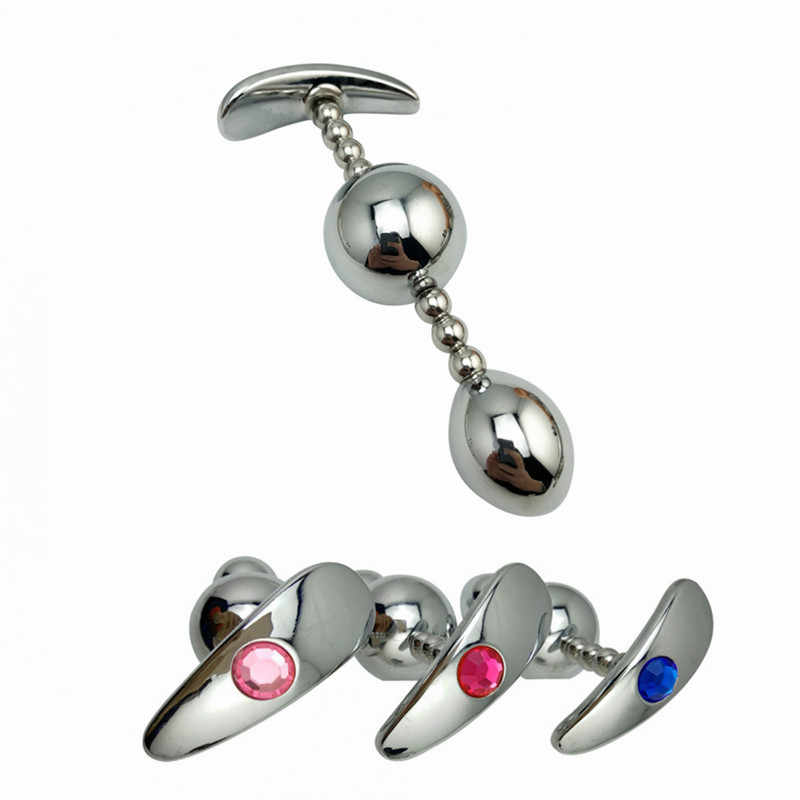 Sieraden Kleur 1 Stuk Enorme Size Metalen Anale Bal Kralen Butt Plug SM Insert Seksspeeltje voor Mannen Vrouwen Paar glazen Dildo Volwassen Spelletjes