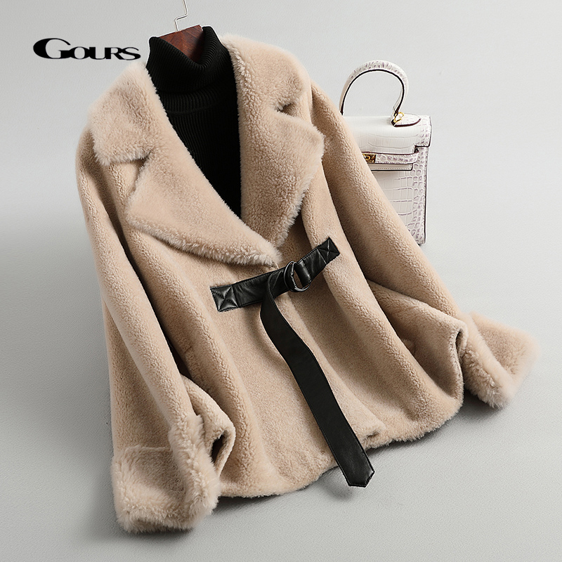 GOURS Winter Women Real Fur Coats And Jackets Natural Wool Clothes Beige Fashion Thick Warm Full Sleeve New Arrival LD903