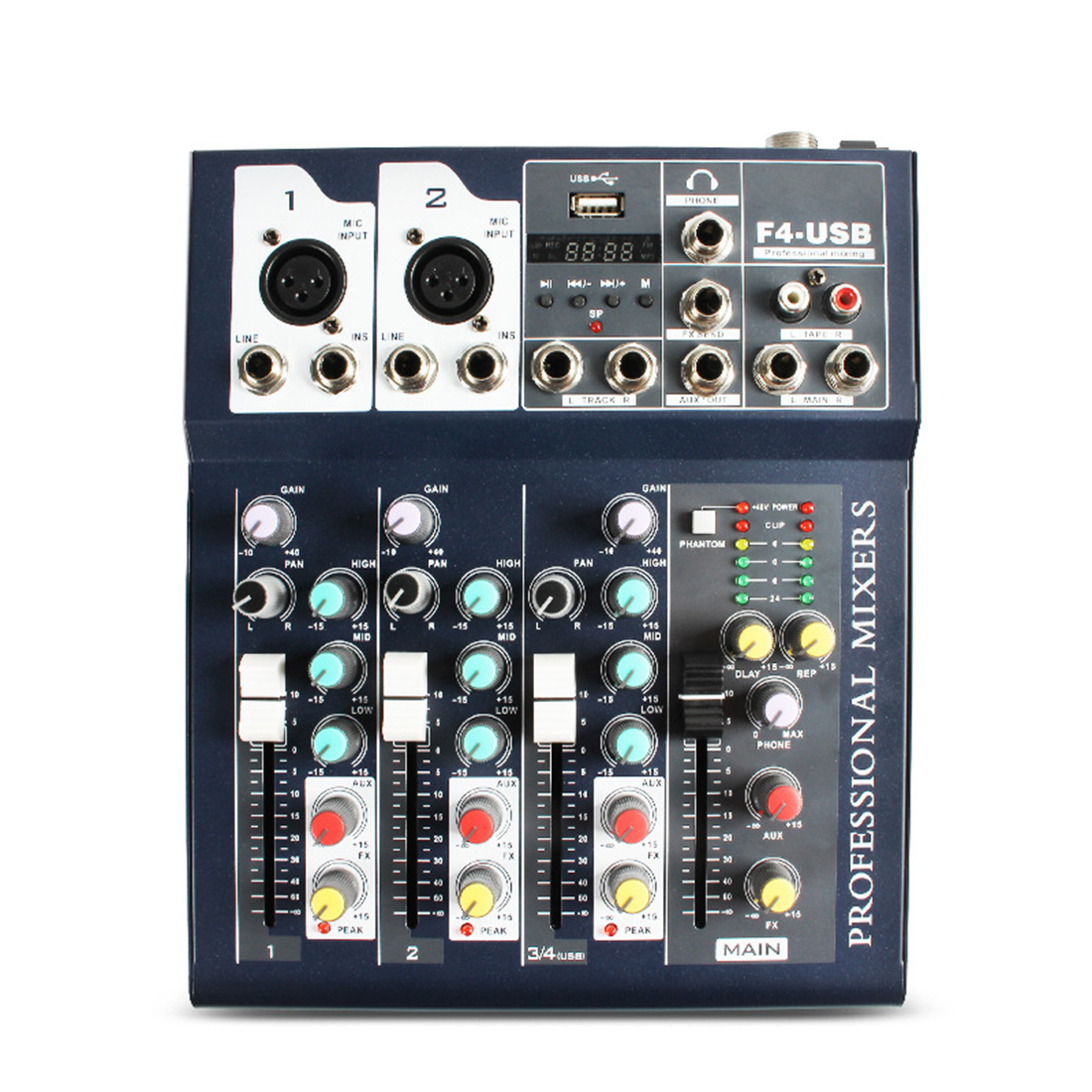 4 kanal Bluetooth Digital USB Kabel DJ Audio Mixer Sound Board Konsole Anschließbar Mikrofon Mischen Station Controller