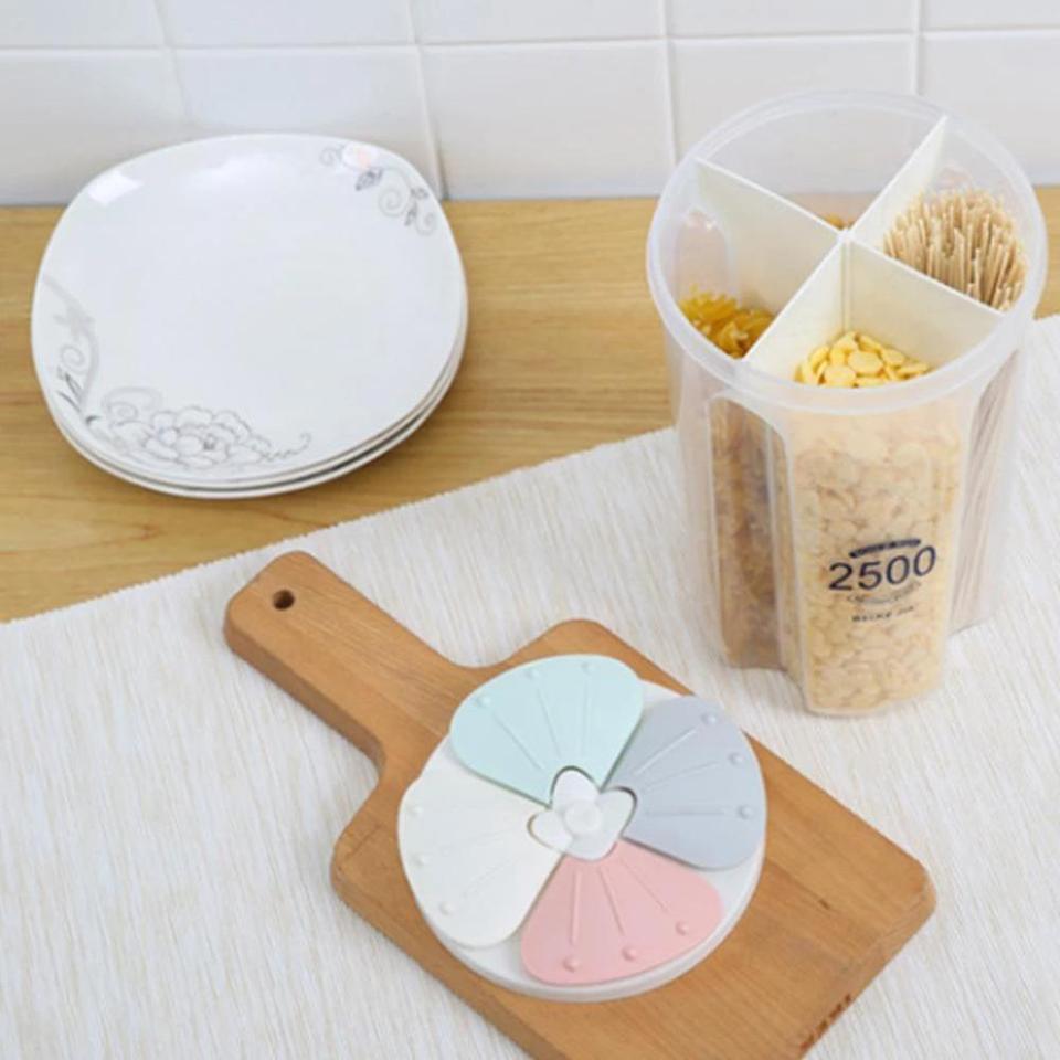 2/3/4Grids Rotating Plastic Cereal Dispenser Storage Box Kitchen ...