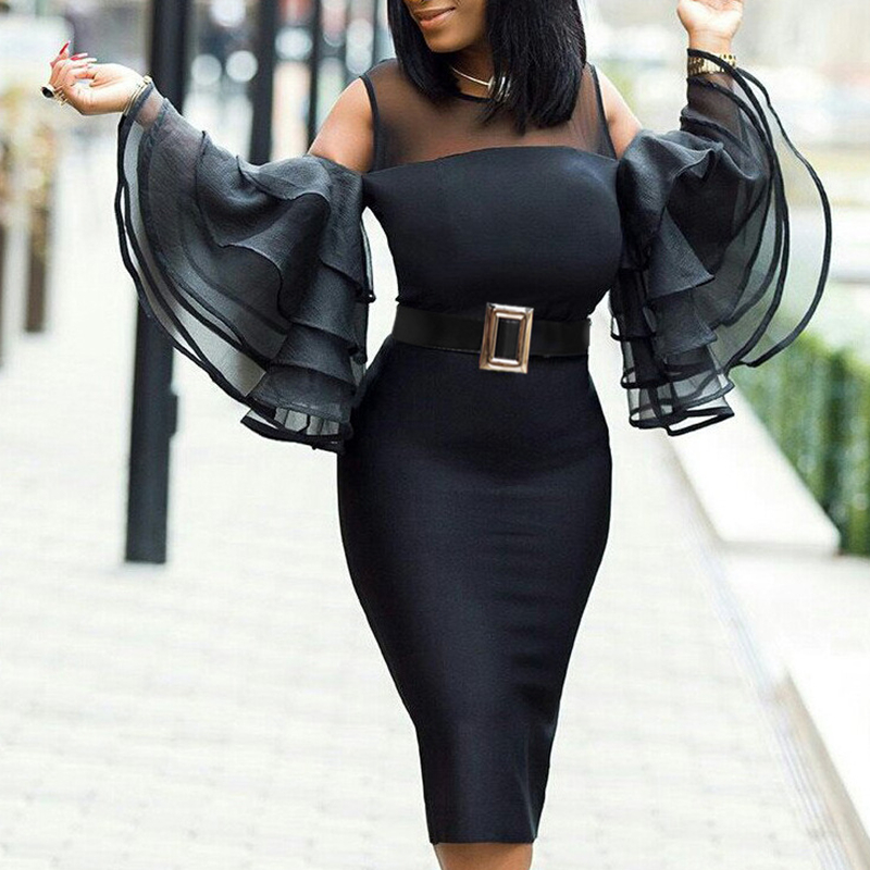 New Elegant African Dresses For Women 2019 Sexy Slim Ruffle Sleeve Robe Bodycon Solid African Clothes With Sashes Plus Size Buy At The Price Of 23 61 In Aliexpress Com Imall Com