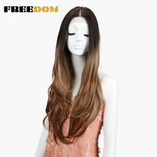 FREEDOM Middle Part High Temperature Fiber Ombre Blond 30' Long Natural Hairline Body Wave Synthetic Lace Front Wig For Women(China)