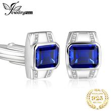 Wedding-Cufflinks 925-Sterling-Silver Men Jewelrypalace Sapphire Engagement Created Anniversary