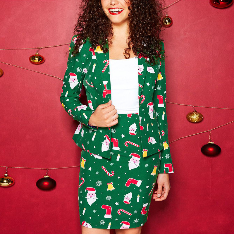 Hot sale 2019 winter New Year Party women's Christmas Blazer suit Full sleeve single button notched Printed skirt and jacket set