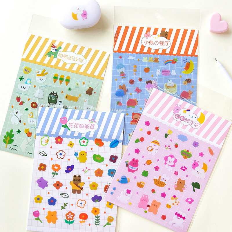 Mohamm 1 Sheet 12cm X 17cm Rainbow Shop Series Stickers Rabbit Cute Cartoon Animals Flower Decorative Sticker Flakes Girl School