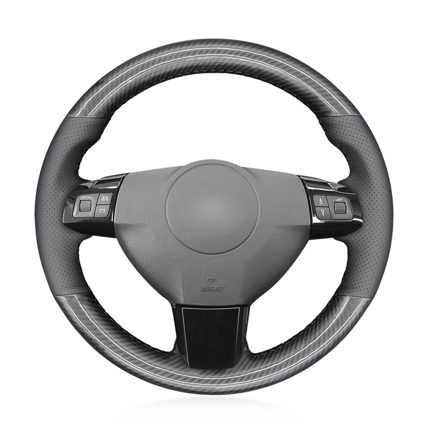 Black PU Carbon Fiber Genuine Leather Car Steering Wheel Cover for Opel Astra (H) 2004-2009 Zaflra (B) 2005-2014 Vectra (C)