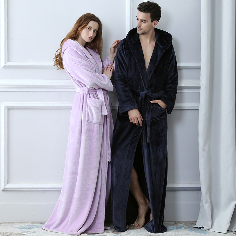 Men Plus Size Winter Long Warm Coral Fleece Bathrobe 40-120KG Hooded Kimono Flannel Cozy Bath Robe Dressing Gown Women Sleepwear