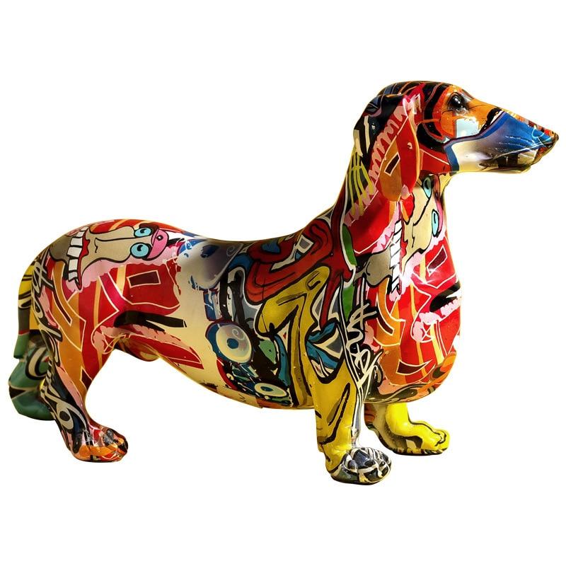 Creative  Home Modern Graffiti Painted Colorful Dachshund Dog Decoration Wine Cabinet Office Decoration Desktop Decoration Craft