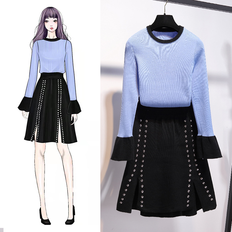 Set 2019 Spring And Autumn New Style Korean-style Elegant WOMEN'S Knitted Wear Contrast Color Sweater Knitted Skirt Two-Piece Se