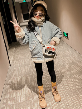 Girl Coat Autumn and Winter Clothing New Fashion Plus Velvet Thickened Older Children's Clothing Denim Little Girl's Clothes