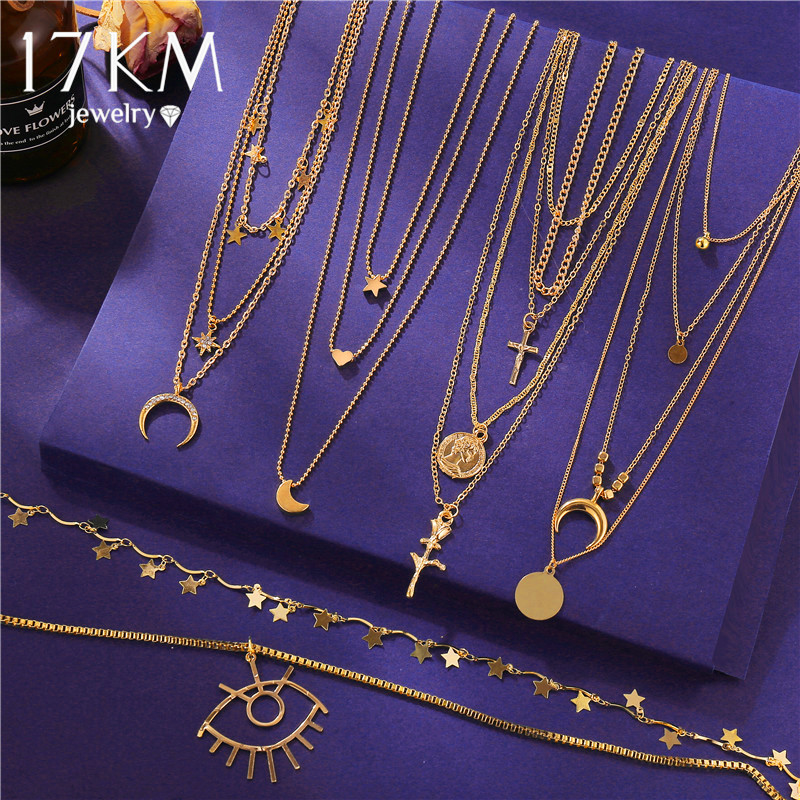 17KM Fashion Multilayer Gold Necklaces For Women Vintage Crystal Eyes Moon Star Pendant Necklace Choker Fashion Cross Gift Party