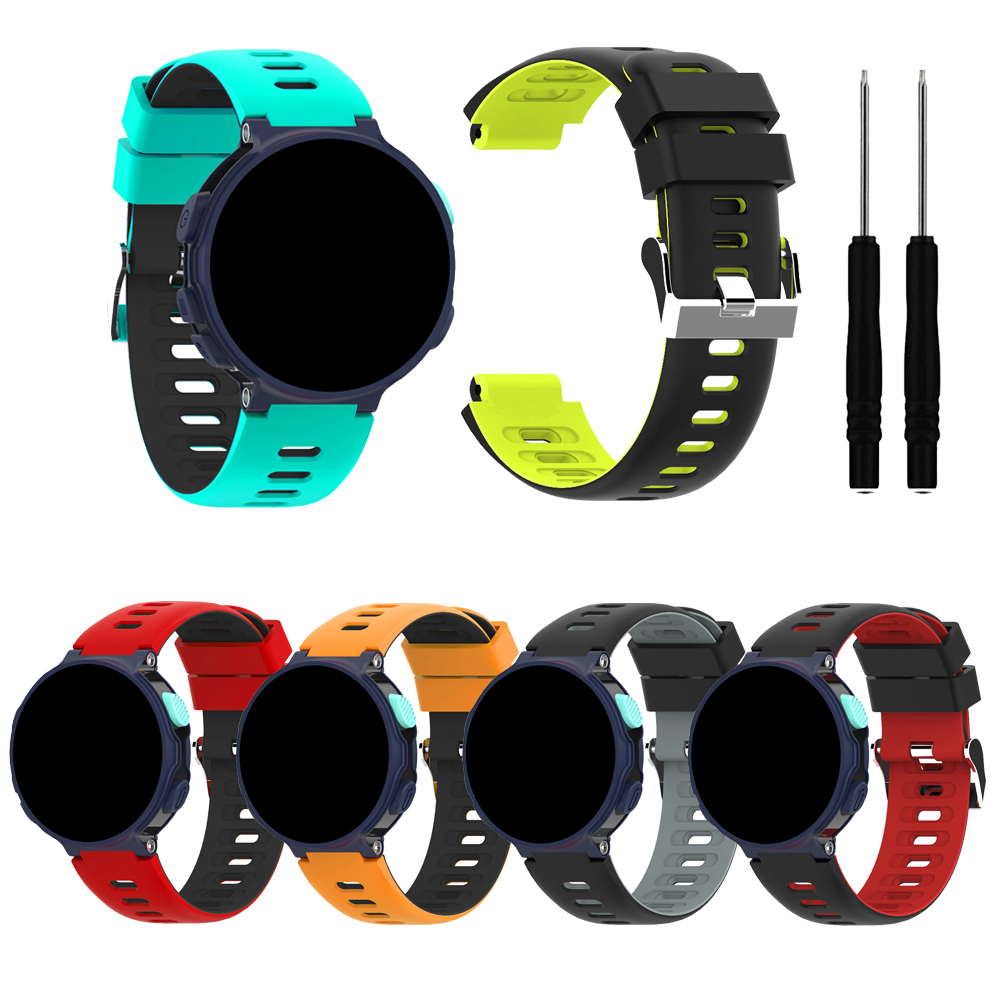 Silicone Watchband For Garmin Forerunner220/230/235/620/630/735xt Bracelet Two-color Watch Replacement Strap For Forerunner 220
