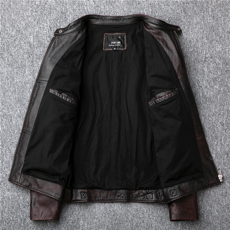 무료 배송, 브랜드 빈티지 정품 가죽 jacket. mens 브라운 모터 바이커 소 가죽 coat. slim 플러스 사이즈 jackets. outwear 판매-에서진짜가죽 코트부터 남성 의류 의  그룹 3