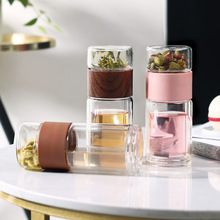 Tea Water Bottle Travel Drinkware Portable Double Wall Glass Tea Infuser Tumbler Stainless Steel Filters The Tea Filter office business glass water bottle portable double wall glass tea bottle with tea infuser creative transparent glass gift bottle