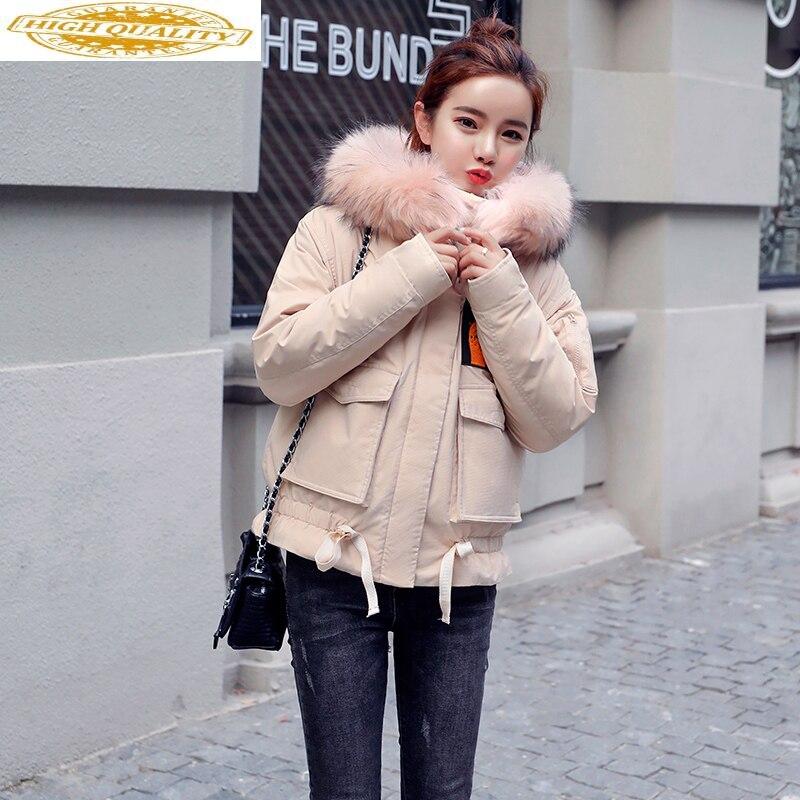 Short Down Jacket Woman Hooded Autumn Winter Coat Women Korean Racoon Fur Collar Womens Jackets Abrigos Mujer KJ1005
