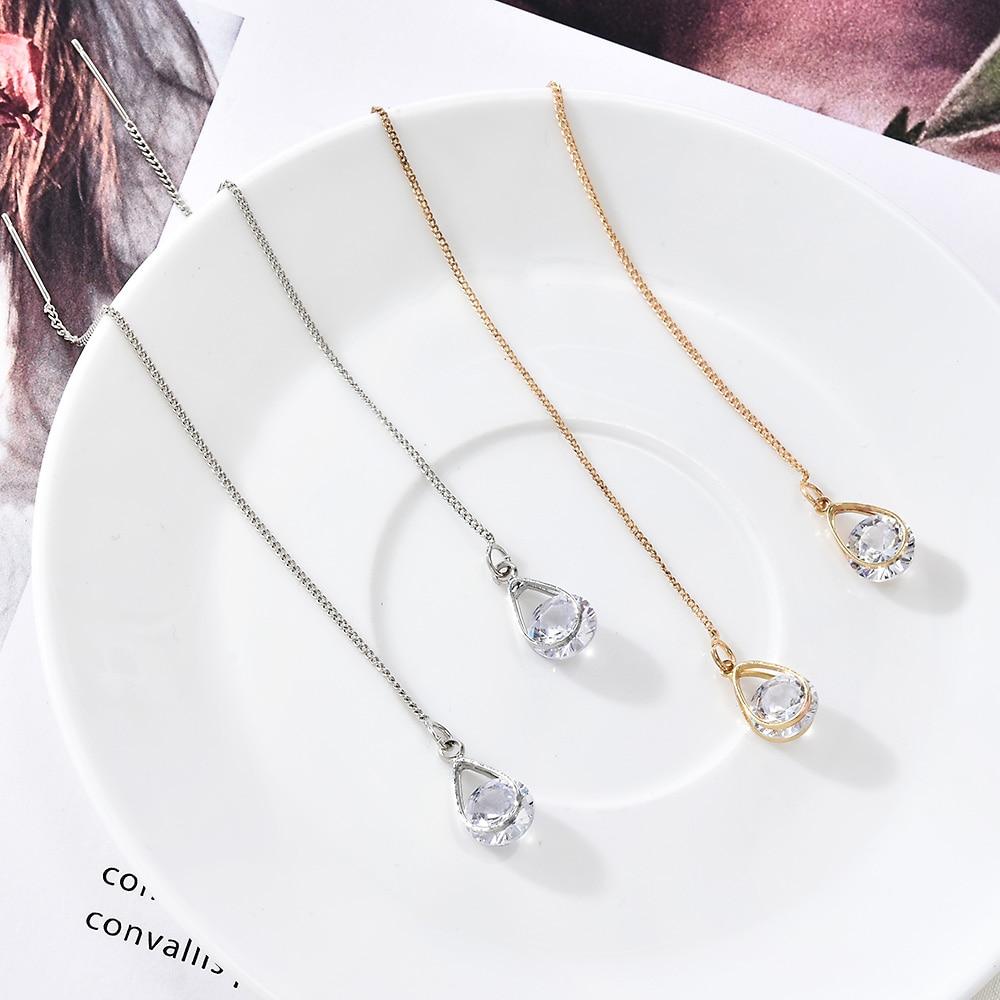 Long Cubic Zirconia Drop Dangle Bohemia Tassel Earrings for Women Statement Metal Hanging Earring Modern Female Fashion Jewelry