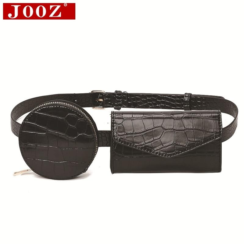 Fashion Crocodile Waist Belt Bag Women Round Purse + Crossbody Phone Bag Leather Chest Bag Belly Bag Girl Fanny Pack