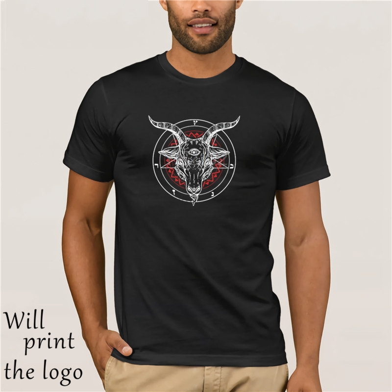 Haut Satanico Satana Capra Lucifero Baphomet t-shirt Uomo coupe ajustée Manica Corta t-shirts Nuovi Uomini di Alta concepteur