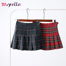 Women Pleated Mini Skirt  High Waist Sexy Plaid Skirts Chic Korean Preppy Style 2019 Side Sweet Button Womens