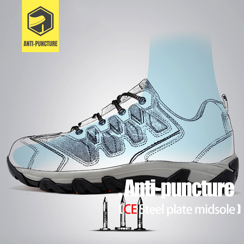 LARNMERN Men's Work Safety Shoes Steel Toe Cap Outdoor Sneaker Boots Breathable Safety Protection Footwear With Reflective 2