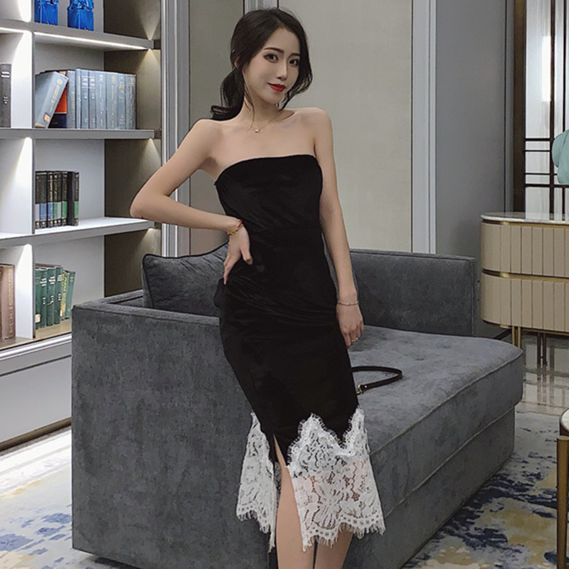 Sexy Tube Top Irregular Lace Black And White With Pattern Formal Dress 2019 New Style Mid-length Slimming Dress H4925