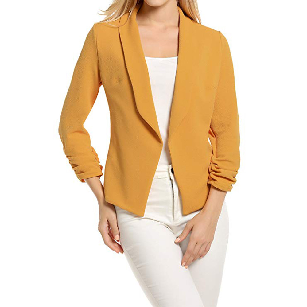 Blazer Mujer 2019 Women Autumn Plus Size Solid Open Front Long Sleeve Notched Casual Office Overwear Blazer Mujer Elegante