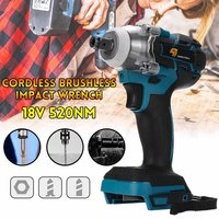 18V 520Nm Electric Rechargeable Brushless Impact Wrench Cordless 1/2 Socket Wrench Power Tool for Makita Battery