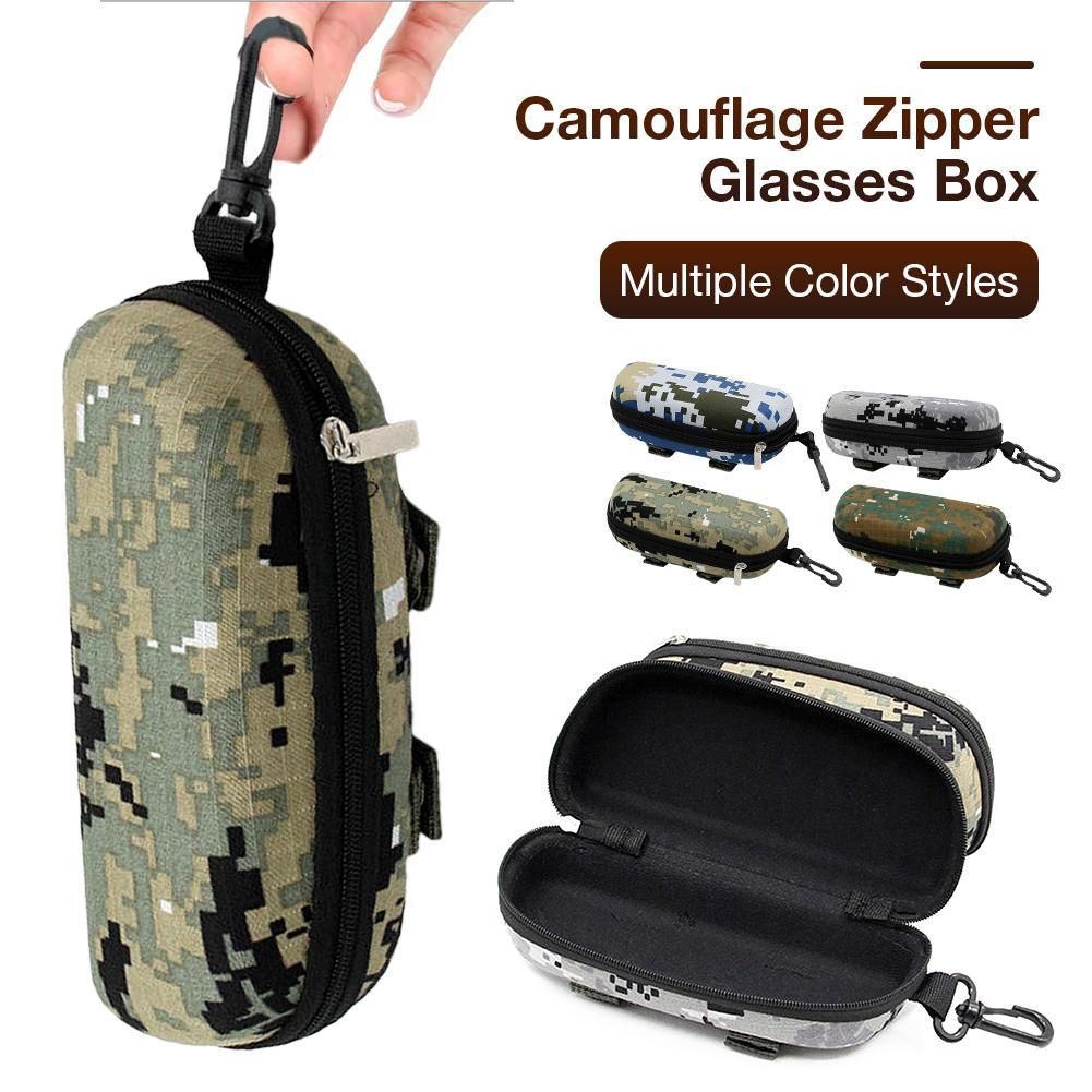 1Pcs Fashion Camouflage Sunglasses Case Military Glasses Box EVA Eyeglasses Cases Mens Eyewear With Belt Clip Lens Container